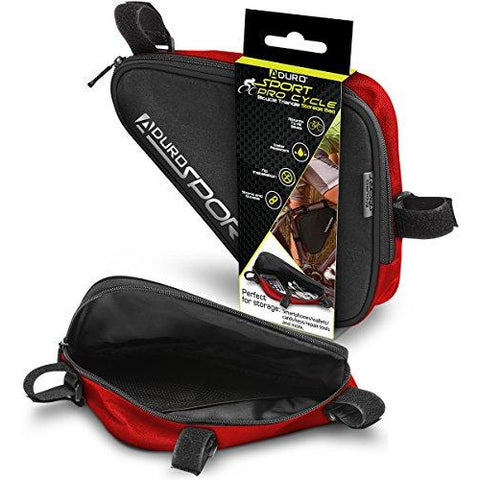 Aduro Sport Bicycle Bike Storage Bag Triangle Saddle Frame Pouch for Cycling (Red)