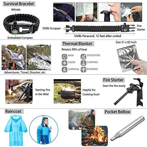 AOKIWO 126Pcs Emergency Survival Kit Professional Survival Gear Tool First Aid Kit SOS Emergency Tactical Knife Pliers Pen Blanket Bracelets Compass with Molle Pouch for Camping Adventures (Black)