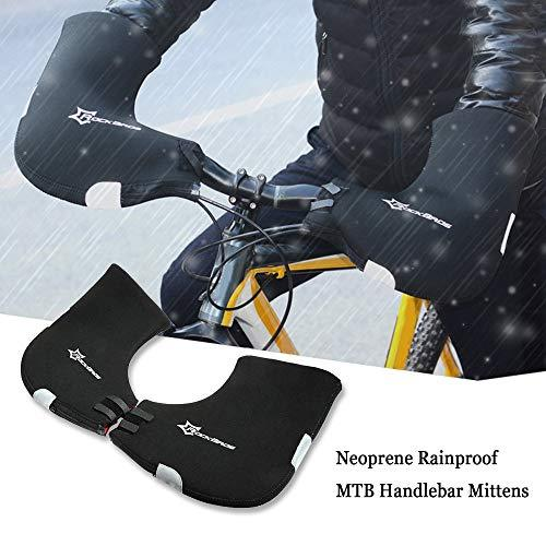 Docooler Handlebar Mitts Pogies Mittens for Cold Weather Riding MTB Fat Bike Motor Bar Covers Winter Thermal Cover Bike Hand Warmer with Thick Neoprene: 6mm - Features: Warm, Rainproof, Windproof