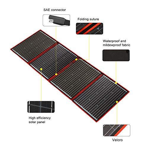 DOKIO 220 Watts Monocrystalline Foldable Solar Panel with Charge Controller with Dual USB Outputs (Lightweight 9lb) to Charge 12 Volts Batteries (All Lead/Acid Types: Vented AGM Gel) RV Camping