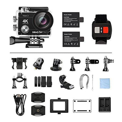 Dragon Touch 4K Action Camera 16MP Vision 3 Underwater Waterproof Camera PC Webcam 170° Wide Angle WiFi Sports Cam with Remote 2 Batteries and Mounting Accessories Kit