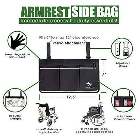 Electric Wheelchair Side Bag with Large Cup Holder
