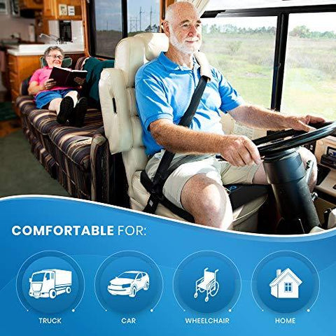 Everlasting Comfort Pure Memory Foam Wheelchair Seat Cushion - Gel Infused and Ventilated - Designed for Hip and Tailbone Support - Fits Office Chairs