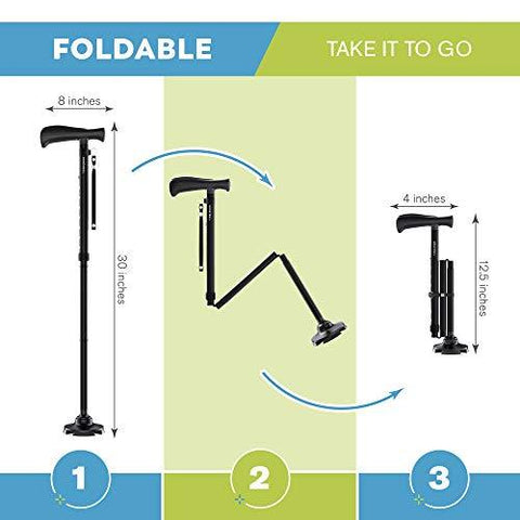 HONEYBULL Walking Cane for Men & Women | Free Standing, Foldable, Pivot Tip [Black]