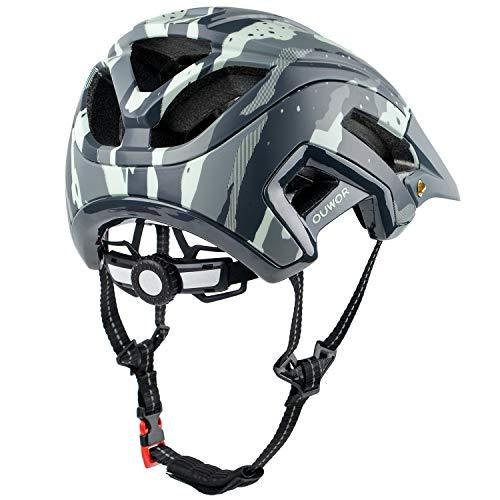 OUWOR Road & Mountain Bike MTB Helmet, CPSC Certified, with Removable Visor and Adjustable Dial (Camouflage Green)