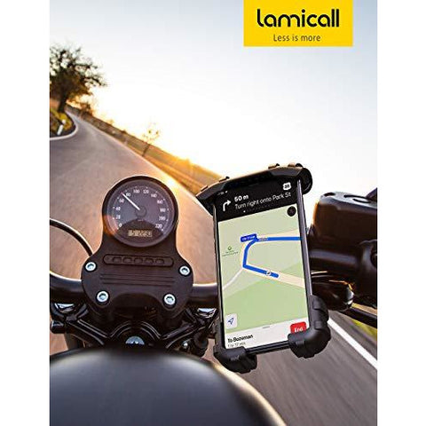 "Phone Holder Mount for Bike Handlebar - Lamicall Motocycle Cell Phone Clamp, Scooter Phone Mount for iPhone 11/ iPhone 11 Pro/ iPhone 11 Pro Max, S9, S10 and More 4.7"" - 6.8"" Smartphones"