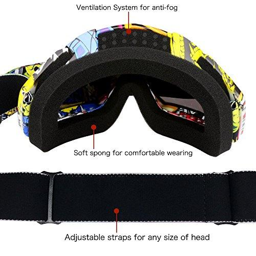 Professtional Adult Motorcycle Goggles Off Road Dirt Bike ATV Riding Motocross Mx Goggles Glasses for Men Women Youth Kids(C74)