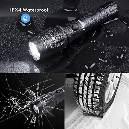 Rechargeable Tactical Flashlight High Lumens LED 18650 5000mAh Battery Charger USB Cable Gift Box Included L2 Waterproof Big Torch Portable Adjustable Aluminum Flash Light For Emergency Camping Hiking
