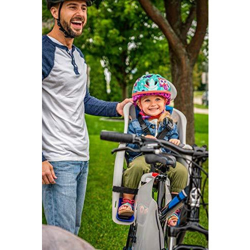 Schwinn Deluxe Bicycle Mounted Child Carrier/Bike Seat For Children, Toddlers, and Kids, 3-Point Harness, Adjustable Headrest, Padded Crossbar