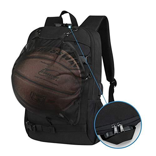 Skateboard Backpack, Simbow Football and Basketball Backpack with USB Charging Port, Anti-Theft Lock, Water Resistant Laptop Backpack Rucksack, Fits up to 15.6-17 Inch, for School Business Travel