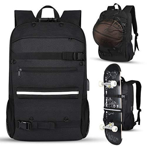 Skateboard Backpack with Anti-Theft Lock and USB Charging Port