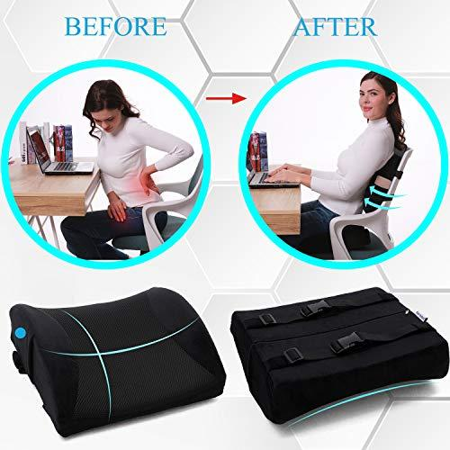 SUPA MODERN Memory Foam Car Seat Cushion and 3D Mesh Lumbar Support Pillow Coccyx Orthopedic Seat Cushion for Office Chair Lumbar Support Back Pillow for Reliving Lower Back Pain