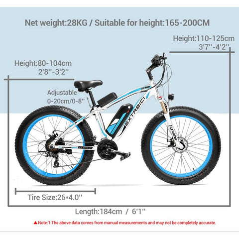 Tiger Mountain Industrial 48V/17Ah 1000W Fat Tire Electric Bike XF660