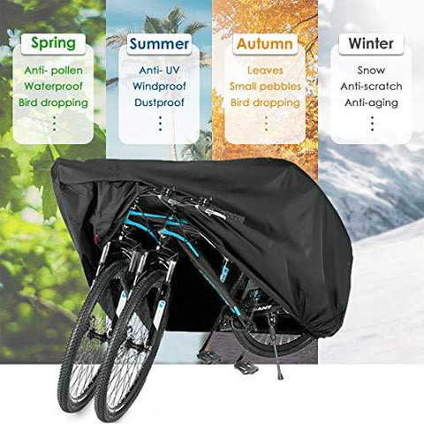 WAEKIYTL Bike Cover Waterproof Outdoor XL XXL Bicycle Cover for 2 Bikes Oxford Fabric Rain Sun UV Dust Wind Proof Motorcycle Covers for Mountain Road Electric Bike Tricycle Cruiser - Black XL 210D