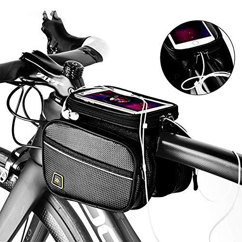 Waterproof Large Capacity Bike Frame Bag with Touch Screen Cell Phone Case
