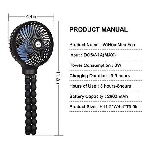 WiHoo Mini Handheld Stroller Fan,2600mAh Personal Portable Baby Car Seat Fan with Flexible Tripod Fix on Stroller,USB or Battery Powered Desk Fan Adjustable 3 Speeds for Camping