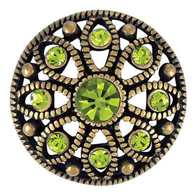 Antique Brass Mae Flower - Olivine