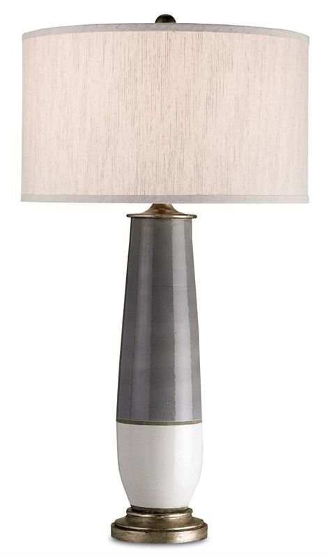 Gray/White Crackle Table Lamp