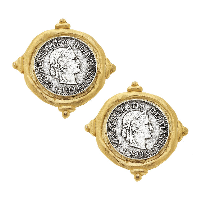 Hand Cast Gold & Silver Coin Clip On Earrings