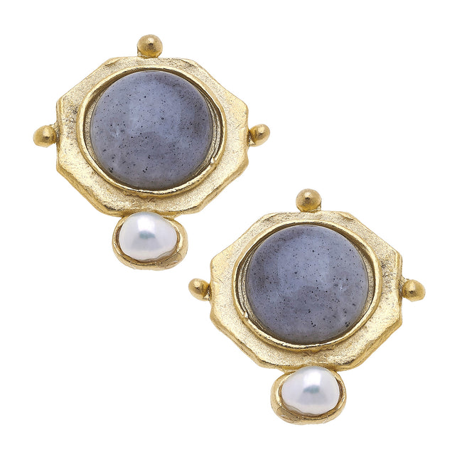 Gold Labradorite Pearl Clip On Earrings