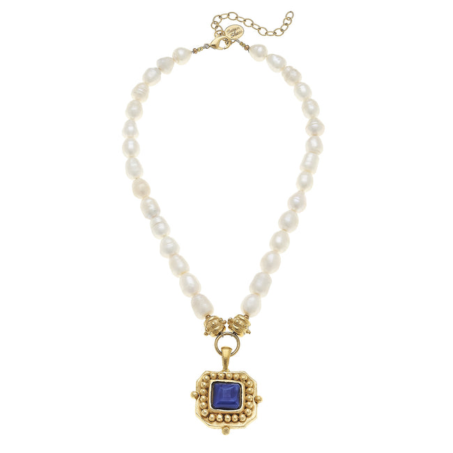 Gold Pendant Crystal Blue Pearl Necklace