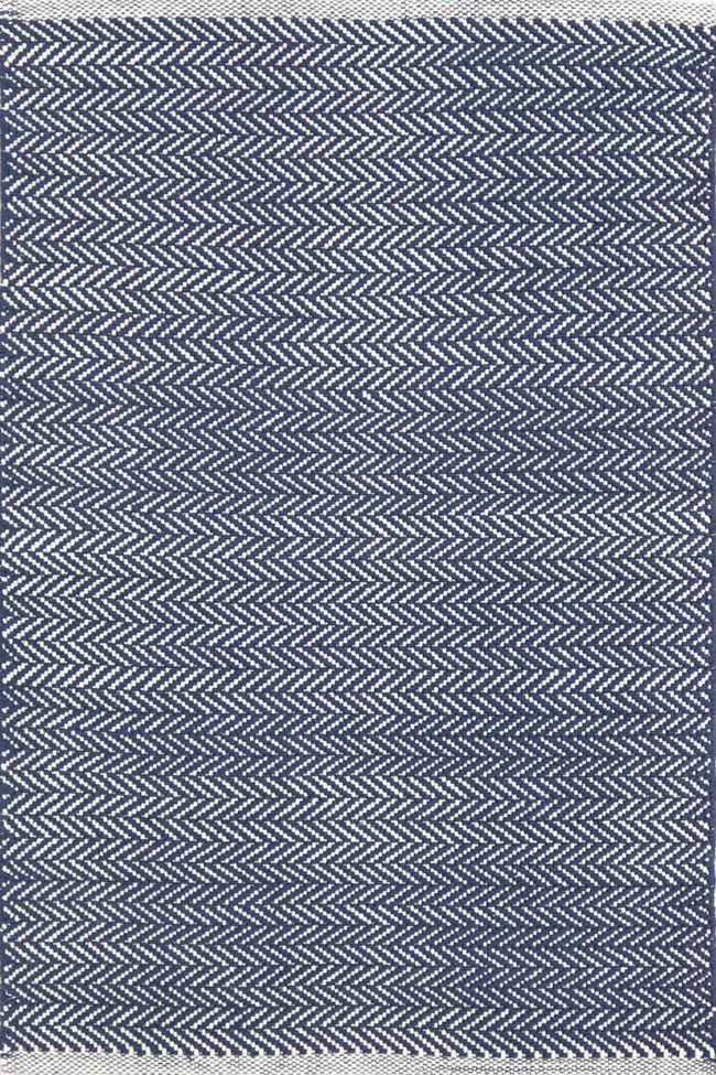 Herringbone Indigo & White Indoor/ Outdoor Rug