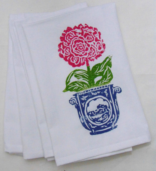 Denim Pot Pink Poppy Flour Sack Hand Towel