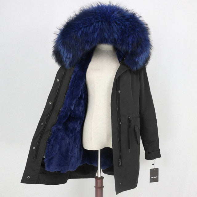 Waterproof Parka Coat With Natural Rabbit Fur Collar Hood And Liner Long Outerwear