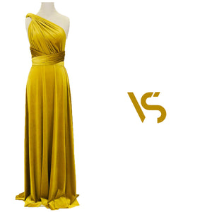 Mustard yellow velvet dress, multiway dress, infinity dress, bridesmaid dress, prom dress, long dress, evening dress, convertible dress