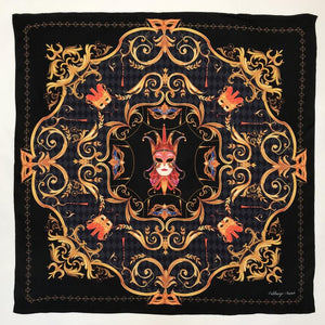 Silk scarf 'il Carnevale', 100% silk twill women's square neck scarf with hand finished hem
