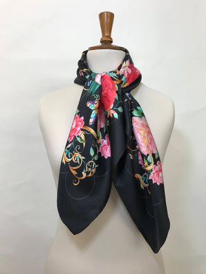 Silk scarf 'Pink on Black Floral', 100% silk women's square neck scarf with hand finished hem