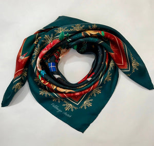 Silk scarf 'The Nutcracker', 100% silk women's square neck scarf with hand finished hem