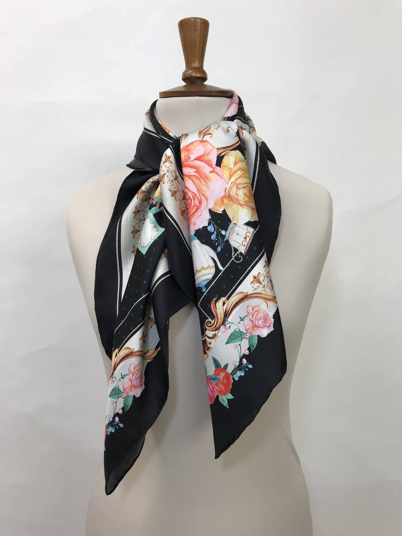 Silk scarf 'Killer Queen', 100% silk women's square neck scarf with hand finished hem