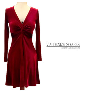 Red dress, velvet dress, christmas dress, cocktail dress, party dress, evening dress, midi dress