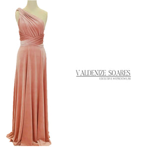Blush pink velvet dress, infinity dress, bridesmaid dress, prom dress, multiway dress, long dress, evening dress, convertible dress