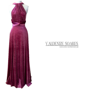 Bridesmaid dress, prom dress, infinity dress, mauve velvet dress, ball gown, long dress, evening dress, convertible dress, party dress