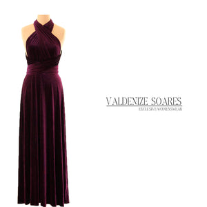 Purple velvet dress, infinity dress, bridesmaid dress, prom dress, ball gown, long dress, evening dress, convertible dress, party dress