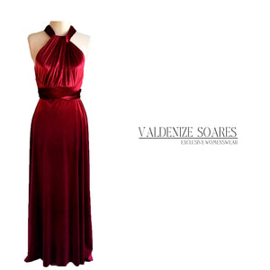 Infinity dress, bridesmaid dress, prom dress, burgundy velvet dress, ball gown, long dress, evening dress, convertible dress, party dress