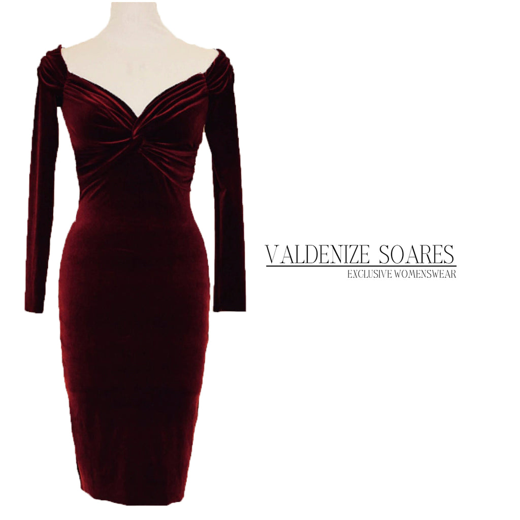 Cocktail dress, burgundy velvet dress, midi dress, evening dress, party dress, mid-length dress