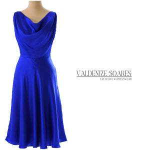 Electric blue silk dress, cocktail dress, prom dress, midi dress, cowl neck dress, available made-to-measure only