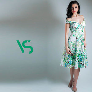 Summer meadow dress, off-the-shoulder dress, made-to-measure dress, green and blue floral, mother of the bride dress, wedding guest dress