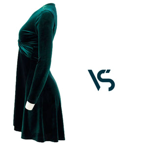 Green dress, velvet dress, christmas dress, cocktail dress, party dress, evening dress, midi dress.