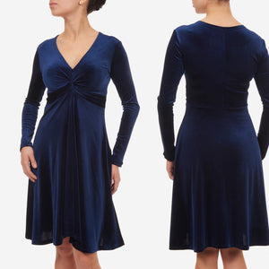 Blue velvet dress, cocktail dress, christmas party dress, navy blue evening dress, prom dress, midi dress