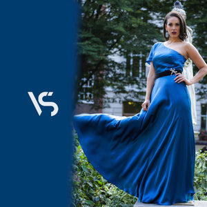 Blue silk dress, ball gown, prom dress, evening gown, catwalk dress, long dress, asymmetric dress, silk gown, available made-to-measure only