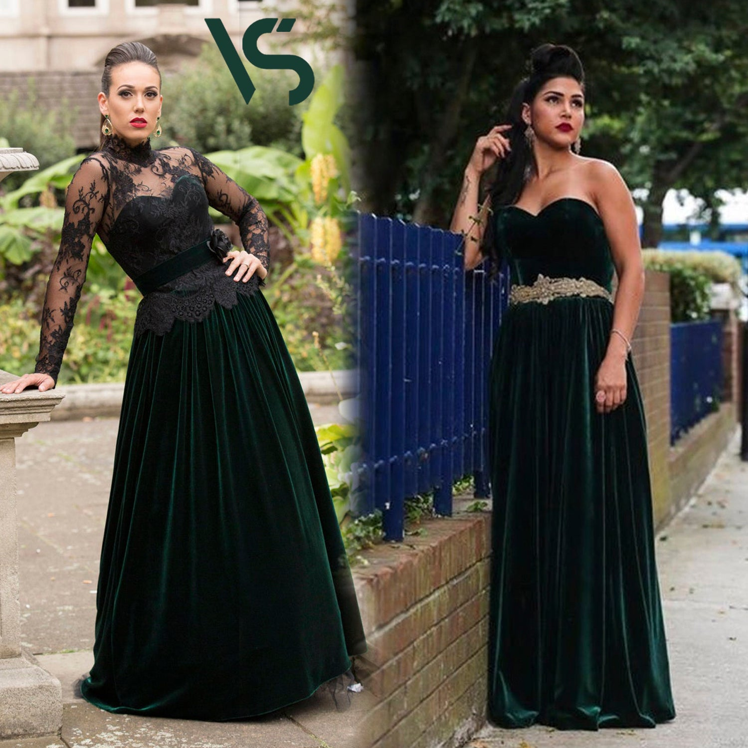 Green prom dress, ball gown, evening gown, party dress, long dress, velvet dress, strapless dress, available made-to-measure only