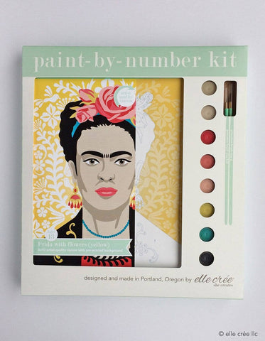 Yellow Frida with Flowers Paint-by-Number Kit