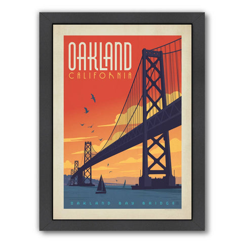 "Oakland Oakland Bay Bridge Vintage Print, Framed 19"" x 25"""