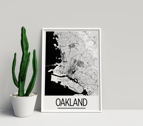 Viva Oakland Map, Black & White Art Print