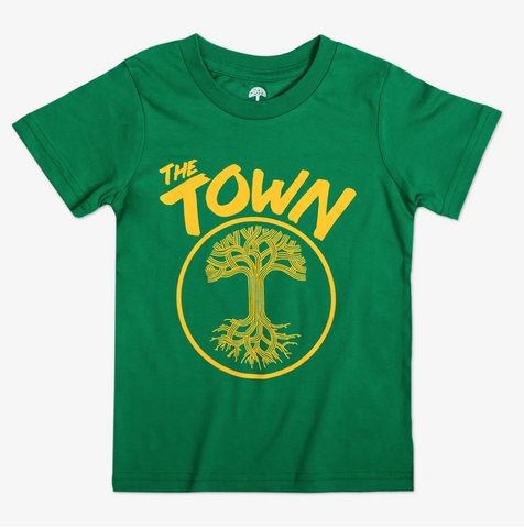 The Town Oaklandish T-Shirt, Green with Yellow Ink, Youth