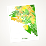 Oakland Map Art Print, Yellow & Green, 11X14